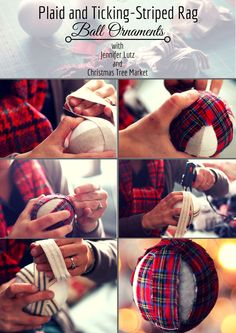 Add texture to your tree with DIY plaid and ticking-striped rag ball ornaments, make your own rag ball ornaments for the tree, making Christmas ornaments if fun and economical