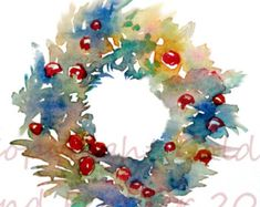 Christmas Clip Art Watercolour Wreath Printable Instant Download