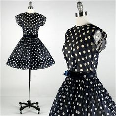 Vintage 1950s Dress  Blue Cotton  Ivory Polka by millstreetvintage, $145.00