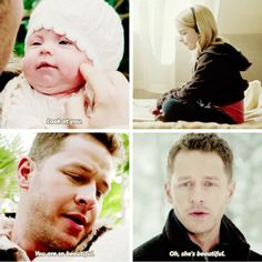 David seeing his daughter Emma when she was little. Once Upon a Time.