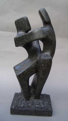 Soapstone Figurative Abstract sculpture by artist John Brown titled: 'Dancing Cheek to Cheek' £2,650