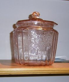 Vintage Pink Depression Glass Cookie/ Biscuit Jar with by PULSEent Antique Cookie Jars, Glass Cookie Jars, Antique Dishes, Antique Glassware, Vintage Dishes, Biscuit, Pink Depression Glass, Fenton Glass, Glass Dishes