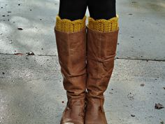 CROCHET BOOT CUFF  Mustard Yellow by flykins on Etsy, $18.00  So adorable!!!!!