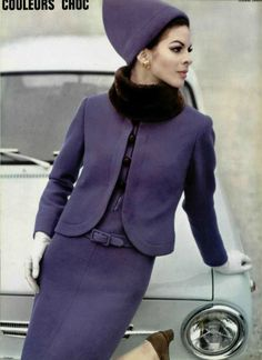 1965 Model in violet-blue wool crêpe dress belted low, worn with matching jacket with nutria fur collar, by Lanvin, photo by Jean Louis Guégan