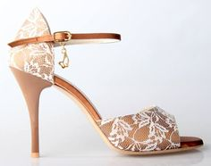 Copper satin and white lace tango shoes, £126.00 at Amy's.