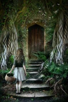 The door to the enchanted garden of Wonderland where Hatter and other Wonderland characters are hiding out form The Red Princess who is now Queen and her tyrannical regime. Fairy Land, Fairy Tales, Forest Fairy, Fantasy World, Fantasy Art, The Secret Garden, Foto Art, Alice In Wonderland, Digital Art