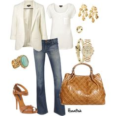 White Blazer, created by hosefish on Polyvore (To go with the tan I will someday this summer have...)