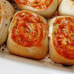 Pizza Roll Ups With Pizza Doughs, Pizza Sauce, Shredded Mozzarella Cheese, Shredded Parmesan Cheese, Melted Butter, Italian Seasoning, Garlic Salt