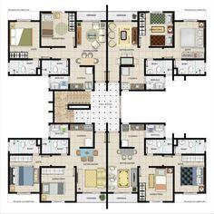 Modern House Floor Plans, Duplex House Plans, Apartment Floor Plans, Residential Building Plan, Building Plans, Building Design, Layouts Casa, House Layouts, Architecture Portfolio
