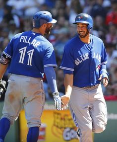 Kevin Pillar,Chris Colabello, TOR/ June 2015