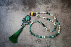 Long necklace stones/ turquoise with soutache tassel by AnnaZukowska on Etsy