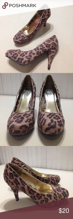 "Attention leopard pump heels size 9 Attention leopard pump heels size 9, man made made materials, 4"" heels, NWOT condition Attention Shoes Heels"