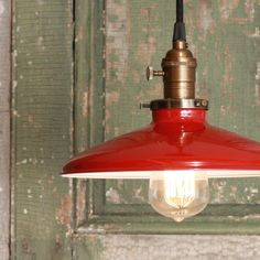 Pretty entering the bedroom :)   Pendant Light With Red Enamel Shade. $118.00, via Etsy.