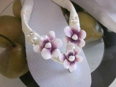 Hawaiian Orchid Oasis Flip Flops Featuring by rocktheflops on Etsy, $38.00
