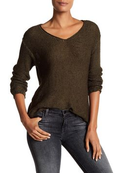 Image of Modern Designer V-Neck Sweater with Faux Suede Elbow Patches
