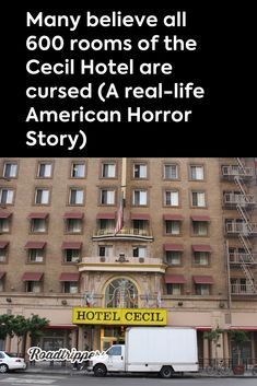 Many believe all 600 rooms of the Cecil Hotel are cursed (A real-life American Horror Story) Real Haunted Houses, Haunted Hotel, Most Haunted Places, Spooky Places, Creepy Stories, Horror Stories, Ghost Stories, American Horror Story Hotel, Ghost Hauntings