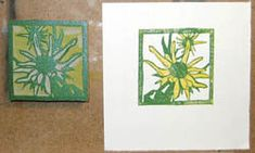 (2) While all of the printed sheets are drying, I clean off the block and I carve away all the areas that I want to remain yellow. When the carving is complete and the prints are dry enough, I print the second color, green, on all the prints.