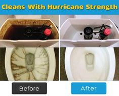 HurriClean cleans your toilet's tank, for a clean flush every time! The powerful cyclonic foaming action removes stains and bacteria in your toilet's tank. Cleaning Toilet Tank, Toilet Tank Cleaner, Remove Rust Stains, How To Remove Rust, Household Cleaning Tips, Cleaning Hacks, Deep Cleaning, Hard Water Cleaner, Toilet Tank Cover