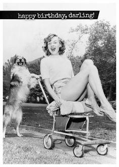 hund und frau vintage look postkarte