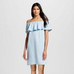 Women's Tencel Off the Shoulder Dress Soft Blue - Nitrogen : Target