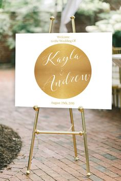 Modern Wedding Welcome Sign Gold metallic, welcome sign printable