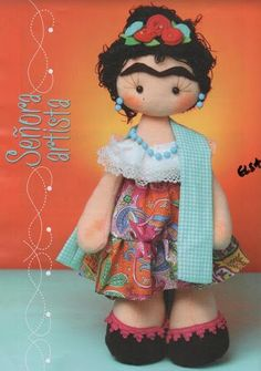 Doll Sewing Patterns, Felt Patterns, Felt Dolls, Doll Toys, Sewing Crafts, Sewing Projects, Diy Projects, Mexican Folk Art, Polymer Clay Creations