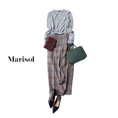 ちょっと粋な印象に見えるチェックパンツの楽ちんワンツーコーデで 【2017/11/15コーデ】Marisol ONLINE|女っぷり上々!40代をもっとキレイに。