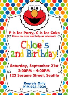 ELMO Birthday Invite Elmo Birthday Invitation by SewKawaiiKids