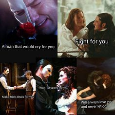 This is my favorite edit of all. All the love that the Phantom gives Christine, truly powerful. (3)