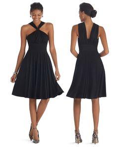 Genius Convertible Fit & Flare Black Dress