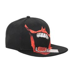 DC Comics Batman The Joker Bat Mouth Snapback Hat Hot Topic ($14) ❤ liked on Polyvore featuring accessories, hats, black snap back hat, black snapback, black snapback hats, adjustable hats and adjustable snapback hats
