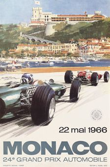 TURNER, MICHAEL (B.1934)  MONACO 1966  offset lithograph in colours, 1966, printed by J.Ramel, not backed  23½ x 15½in. (60 x 39cm.)