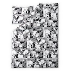 New Comic Moominpappa duvet cover set by Finlayson presents Moominpappa in a stylish black and white comic pattern. Delightful details make this bed linen set a Bed Covers, Duvet Cover Sets, Black And White Comics, Bed Linen Sets, Linen Bedding, Photo Wall, Bedroom, Frame, Fabric