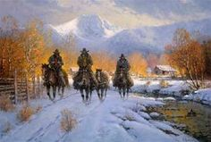 Snowy Crossing by G. Harvey presented by World Wide Art Western Decor, Western Art, Western Quotes, G Harvey, Cowboy History, Cowboy Images, Civil War Art, Winter Painting, Cowboy Art