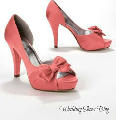 A Splash of Vibrant Color in Coral Satin Wedding Shoes. http://www.weddingshoesblog.com/tag/coral-satin-wedding-shoes/ #weddingshoes #fashion #style