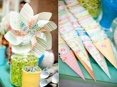 Candy buffet with scrapbook paper cones.