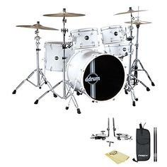 GODPS JFREFLEXWHTWHT225PCKIT1 ddrum Reflex Standard Player 5Piece Drum Set White Shell Pack Polish Cloth Drumstick Bag and 5A Drumsticks -- For more information, visit image link.Note:It is affiliate link to Amazon.