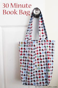 Sewing Crafts For Children 30 Minute Book Bag. I want to make these as library bags for the girls. Bag Patterns To Sew, Tote Pattern, Sewing Patterns Free, Free Sewing, Easy Tote Bag Pattern Free, Wallet Pattern, Messenger Bag Patterns, Messenger Bags, Library Bag