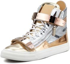 $995, Gold Leather High Top Sneakers: Giuseppe Zanotti Metallic Colorblock High Top Sneaker Silvergold. Sold by Neiman Marcus.