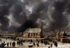 Jan Abrahamsz Beerstraaten(1622-1666) - Skating at Sloten, near Amsterdam c.1660-1665. Oil on canvas.