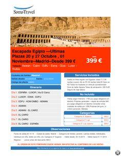 Escapada Egipto --Ultimas Plazas 20 y 27 Octubre , 01 Noviembre--Madrid--Desde 399 € ultimo minuto - http://zocotours.com/escapada-egipto-ultimas-plazas-20-y-27-octubre-01-noviembre-madrid-desde-399-e-ultimo-minuto/
