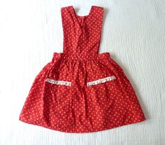 Vintage girls apron dress 3T to 4T. Red with hearts print.  LazerBabyVintage, $12.00