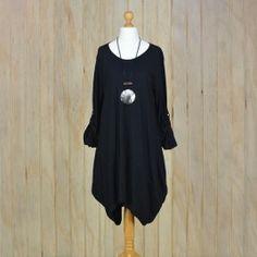 Ladies Lagenlook Plus Size Tunic Dress Asymmetric – BLACK