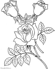 valentine roses and hearts coloring pages free printable - Free Coloring Page Printables