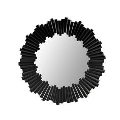 Black Round Rattan Mirror - A gorgeous, round mirror made from varying rattan off cuts to create a stunning star burst design. #PNshop