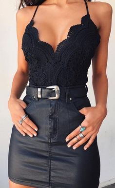 Lace and Leather The perfect going out outfitYou can find Going out outfits and more on our website.Lace and Leather The perfect going out outfit Neue Outfits, Edgy Outfits, Cute Casual Outfits, Fall Outfits, Fashion Outfits, Party Outfits, Teen Fashion, Winter Fashion, Party Outfit Summer