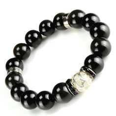 12mm natural obsidian glowing bead fashion bracelet for man-masculine and elegance gemstone jewelry