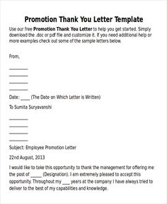 Sample Thank You Letter For Promotion Examples Word Pdf Bossss