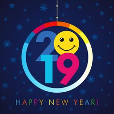 Smiling Colorsful New Year 2019 Background Hd Free