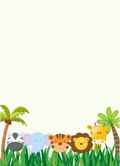 In honor of: Sandra Montero for the arrival of her baby Samuel. We want to invite you to celebrate the arrival of Samuel on April 30 Jungle Theme Birthday, Jungle Party, Safari Party, Safari Theme, Safari Invitations, Baby Posters, Baby Scrapbook, Jungle Animals, Creations